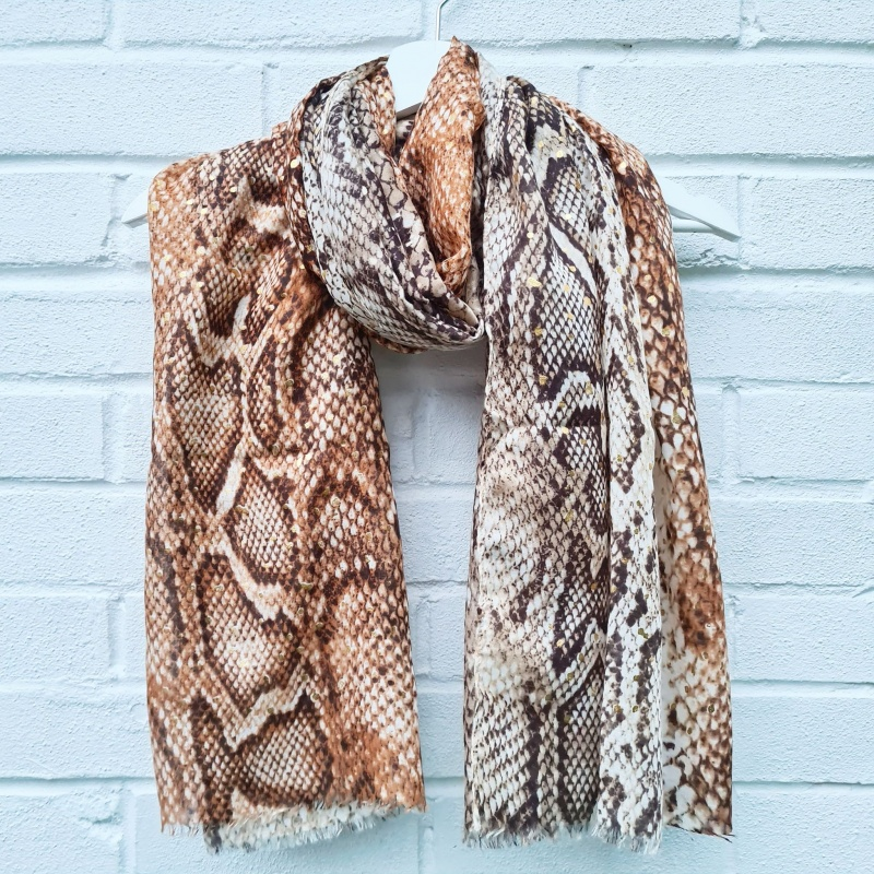 Glam Snakeskin - Brown & Gold Scarf